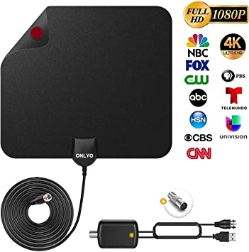 Antena TV Interior Antena de HDTV Digital con Amplificador de Señal 4K 1080p VHF UHF Alcance de 130+ Millas Antena TV Canales de TV Locales: Amazon.es: Electrónica
