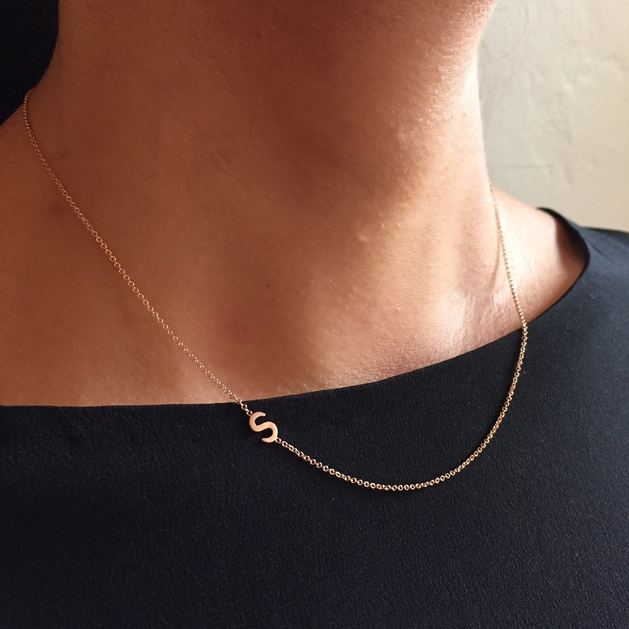 14k gold side initial necklace