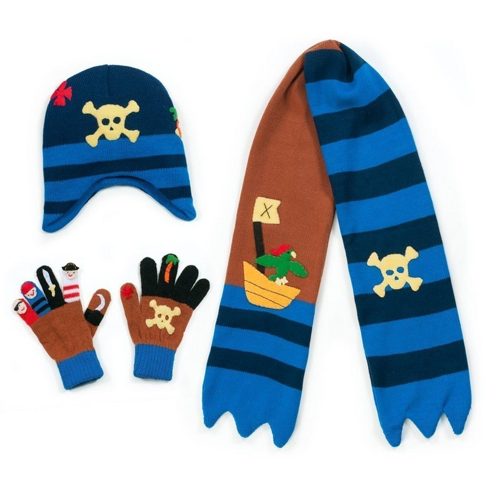 Kidorable Boys' Pirate Hat Scarf Gloves Set, Brown, Small
