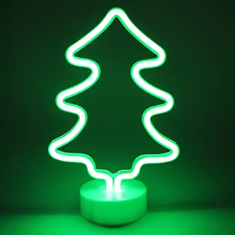 neon signs christmas tree shaped night lights with pedestal led lamps christmas indoor decor novelty