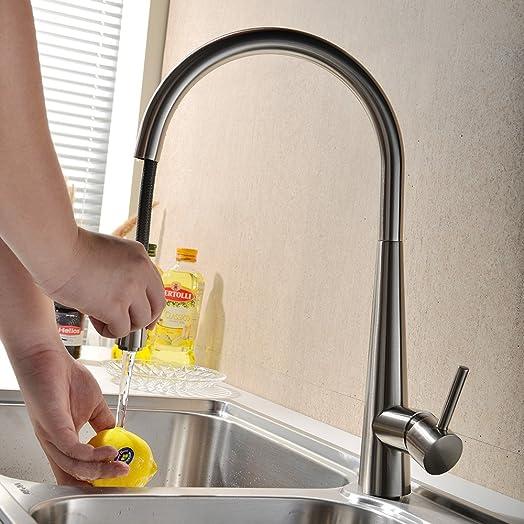 VAPSINT® Modern Pull Out Kitchen Sink Mixer Taps ,Brushed Steel ...