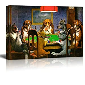 "wall26 Pokers Dogs (or Dogs Playing Cards) by C. M. Coolidge - Canvas Print Wall Art Famous Painting Reproduction - 24"" x 36"""
