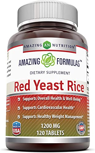 Amazing Formulas Red Yeast Rice Dietary Supplement – 1200mg of Best Quality Red Yeast Rice Powder Per Serving Supports Cardiovascular Health- 120 Tablets Non-GMO Per Bottle