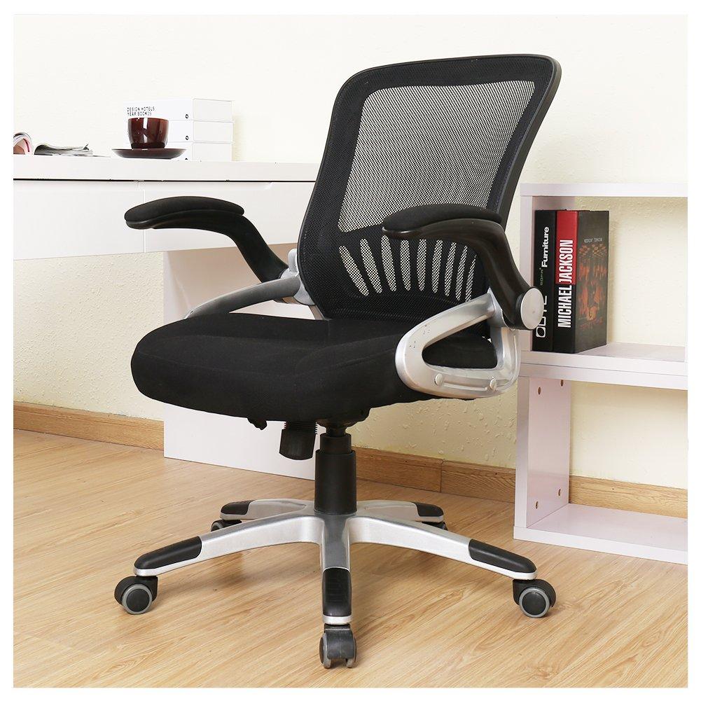 OWLN Office Ergonomic Mid-Back Mesh Chair Swivel Task Chair with Adjustable Armrest
