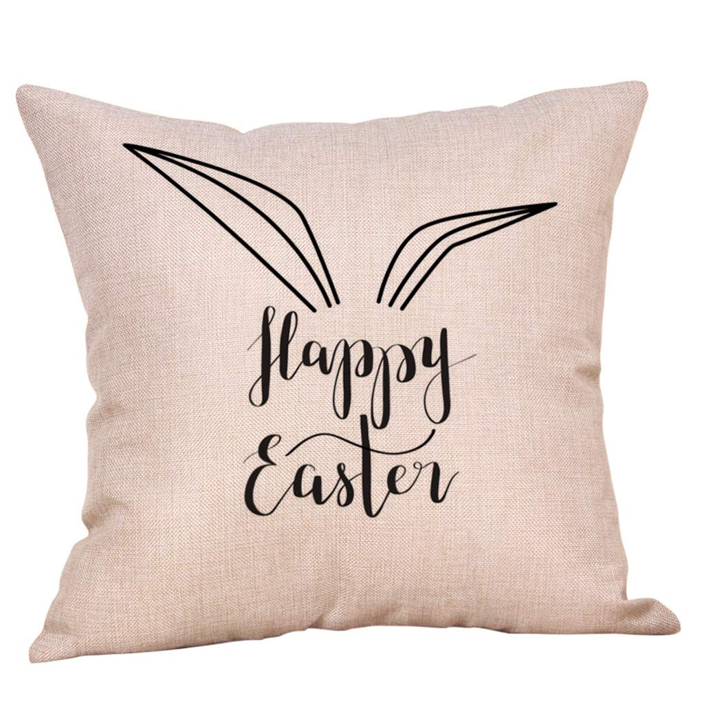 """Vibola  Pillow Cases 18X18"""",Easter Decoration Square Standard Size Linen Cotton Pillow Covers, Anti-Wrinkle, Fade, Stain Resistant - Breathable (H)"""