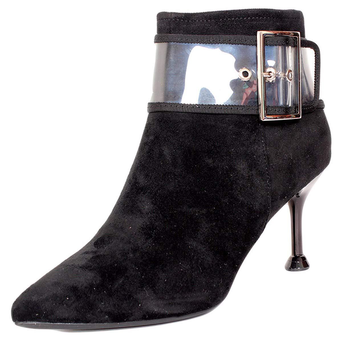 noir Thirty-four LBTSQ-Mode Chaussures Femme Côté Court Bottes avec l'hiver Wild A Indiqué La Boucle De Ceinture Bottes Transparent Maigre Talon Mahomme Dingxue.
