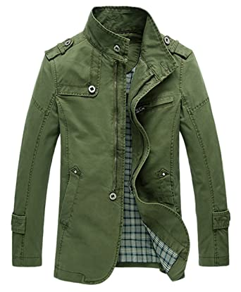 d3ccc7c87 Chouyatou Men's Casual Washed Canvas Cargo Jacket Coats (X-Small ...