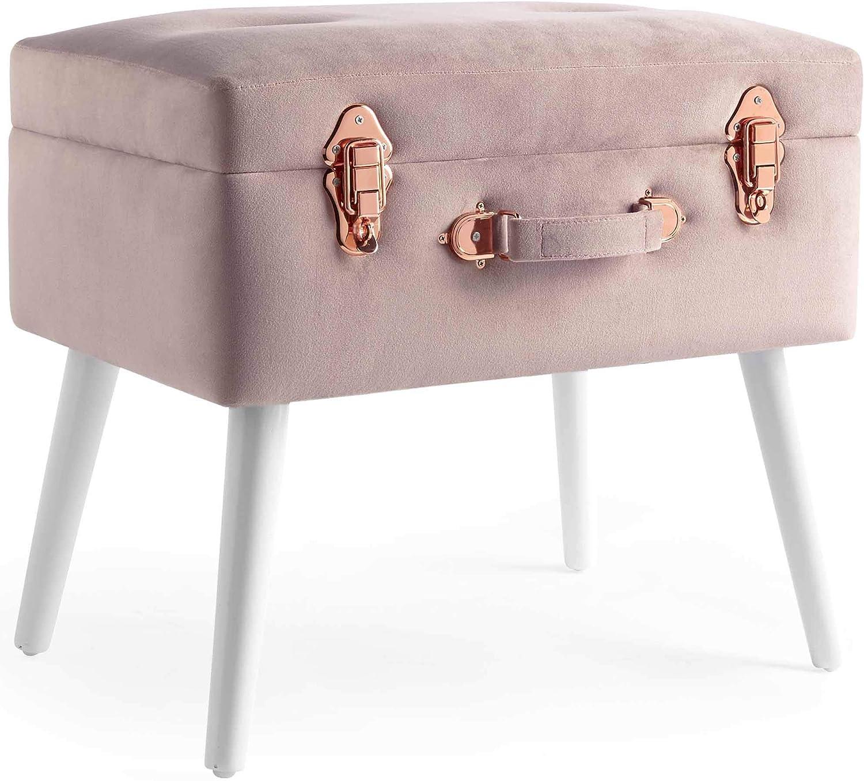 Beautify Taburete Baúl Otomano Asiento Puff Banco de Almacenamiento 2 en 1 – Terciopelo suave al tacto, Rosado con detalles de oro rosa