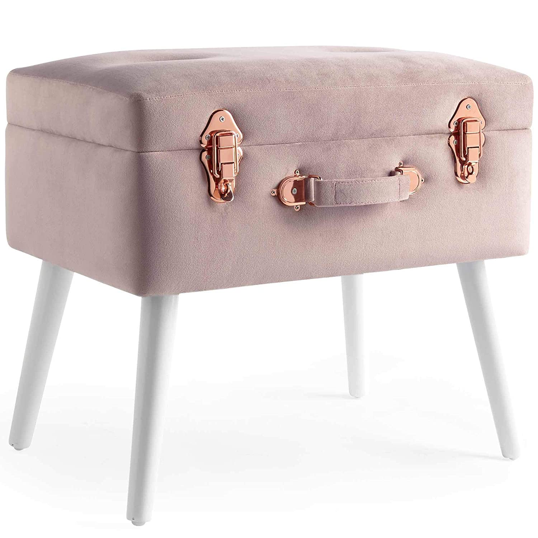 Beautify Hocker mit Stauraum – Weicher Samt – 2-in-1 Funktion – Rosa mit Details in Roségold – Sitzhocker  Fußhocker  Polsterhocker