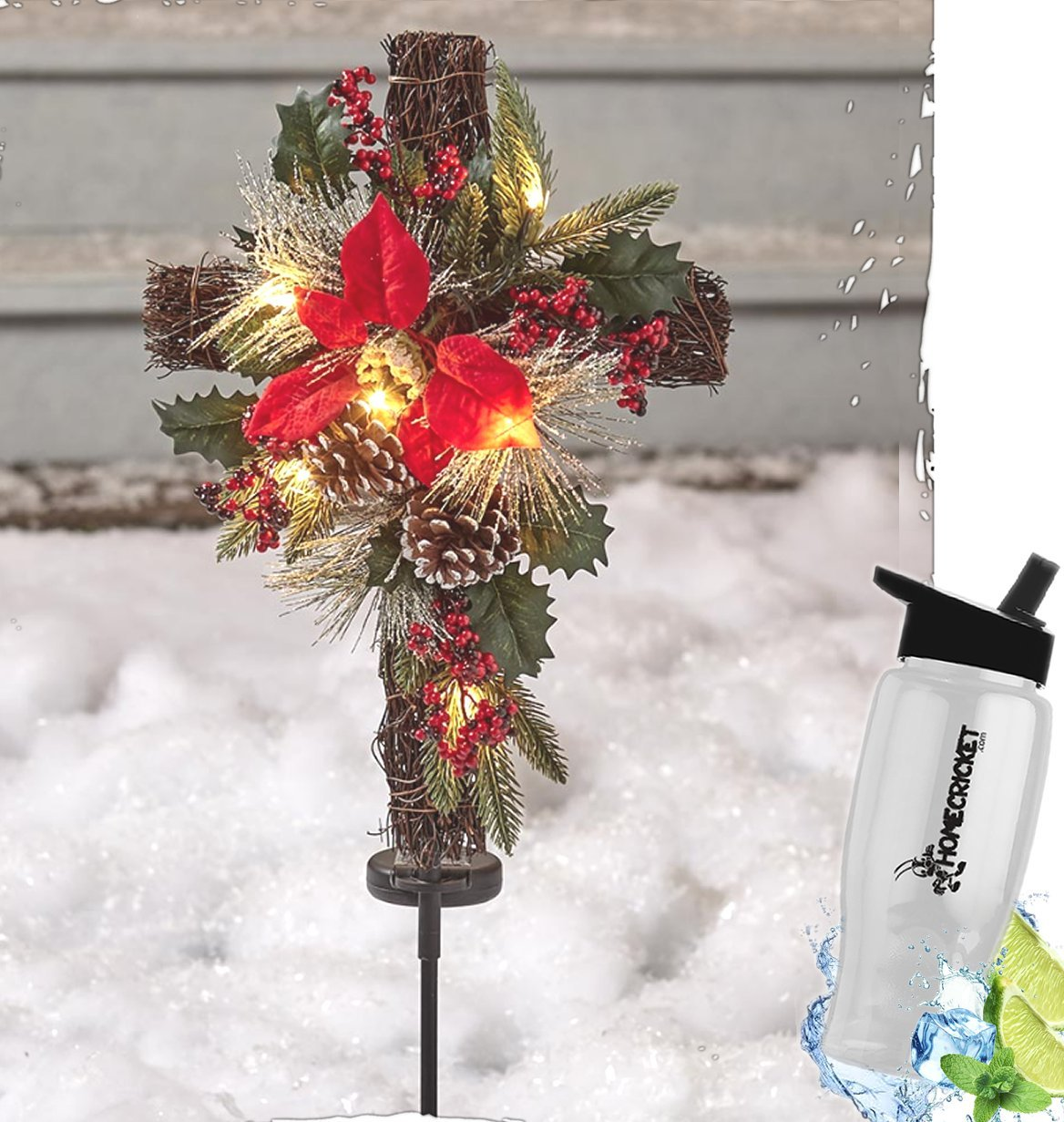 Gift Included- Solar Powered Christmas Holiday Lighted Cross Yard Stake Decor + FREE Bonus Water Bottle by Home Cricket Homecricket