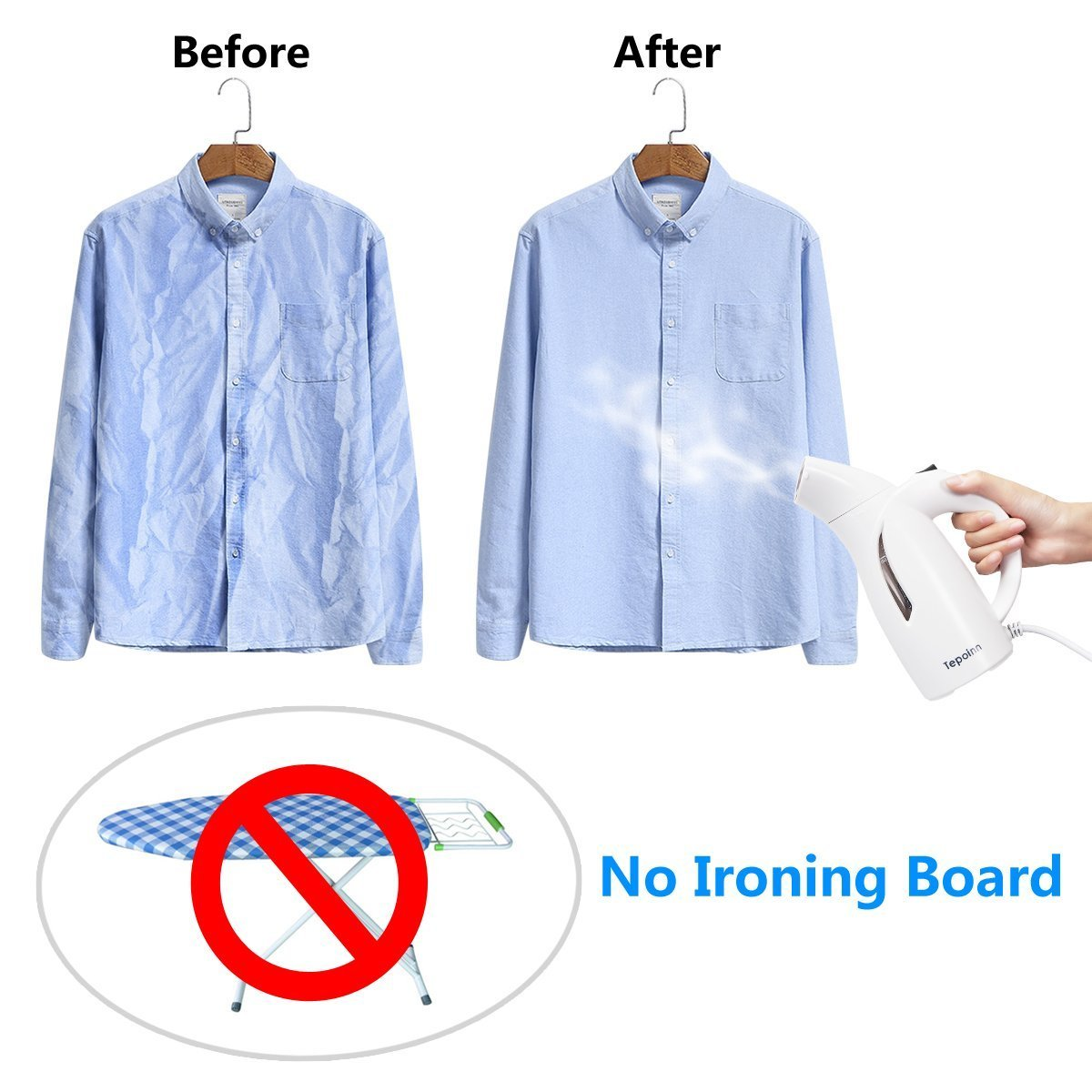 Tepoinn Clothes Steamer for Travel Garment Steamer Portable Fabric Steamer(two gear)
