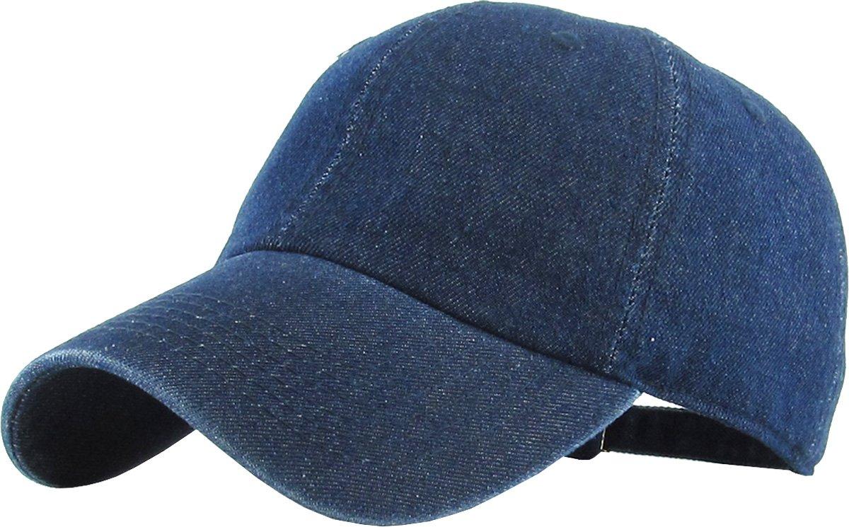 KB-LOW DDM Classic Cotton Dad Hat Adjustable Plain Cap. Polo Style Low Profile (Unstructured) (Classic) Dark Denim Adjustable