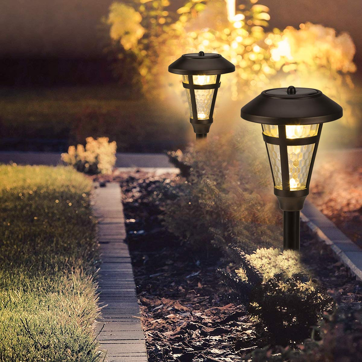 GIGALUMI 6 Pcs Solar Lights Outdoor, Bronze Finshed, Glass Lamp, Waterproof Led Solar Lights for Lawn、Patio、Yard、Garden、Pathway、Walkway and Driveway.