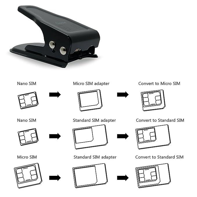 Ciscle Cortador De Tarjetas SIM Sim/Micro/Nano Cortador 2 En 1 De SIM Cortador De Tarjeta Nano SIM Micro SIM (Negro)
