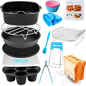 Air Fryer Accessories 14 PCS for COSORI Instant Vortex CHEFMAN COMFEE Ninja Gowise Gourmia Dash Power XL Air Fryer, Fit 3.6-4.2-6.8QT Square Air Fryer with 8 Inch Cake Pan, Pizza Pan, Air Fryer Liner