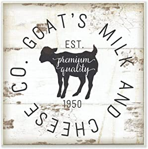 Stupell Industries Goat Milk and Cheese Co Vintage Sign Wall Plaque, 12 x 12, Design By Artist Jennifer Pugh