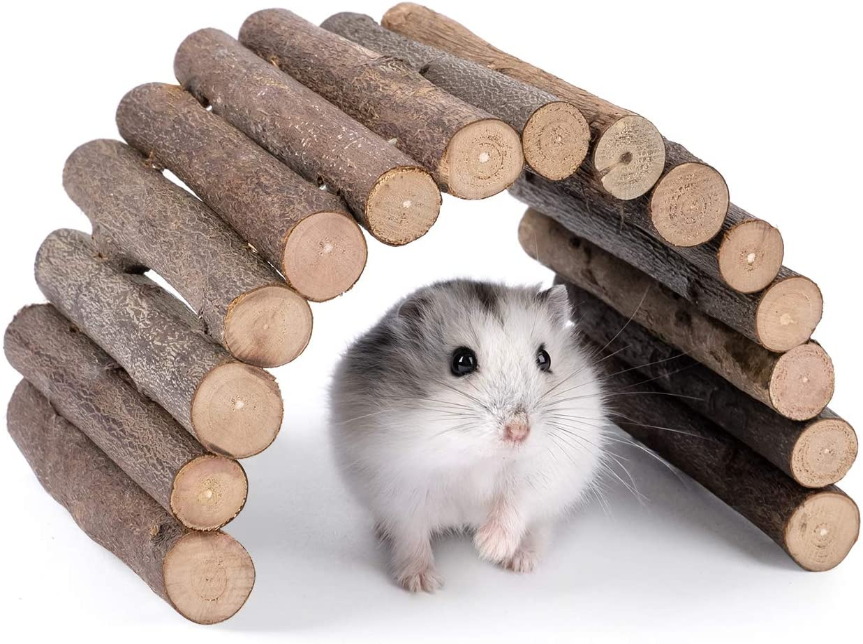 Rat Bendy Long Suspension Bridges,Hamster Bridge Wooden Ladder Bendable Flexible Tunnel Natural Guinea Pig Climbing Ladder Chews Toys For Rodents Mouse Hedgehog Dwarf Hamster Chinchilla(2 Pcs)