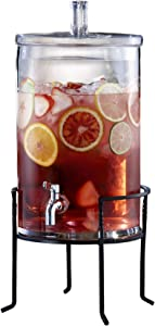Unknown1 2.5-Gallon Glass Beverage Dispenser with Metal Stand Clear