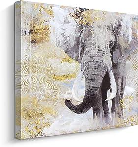 Animal Canvas Wall Art Elephant Painting on Canvas Print, Contemporary Wall Decor (24x24 inch, Elephant)