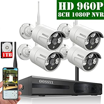【2019 Nuevo】Sistema de Cámara Inalámbrica de Seguridad Interior/Exterior, 8 Canal 1080P NVR Kit 4 960P IP Cámaras de Videovigilancia WiFi Exterior con ...