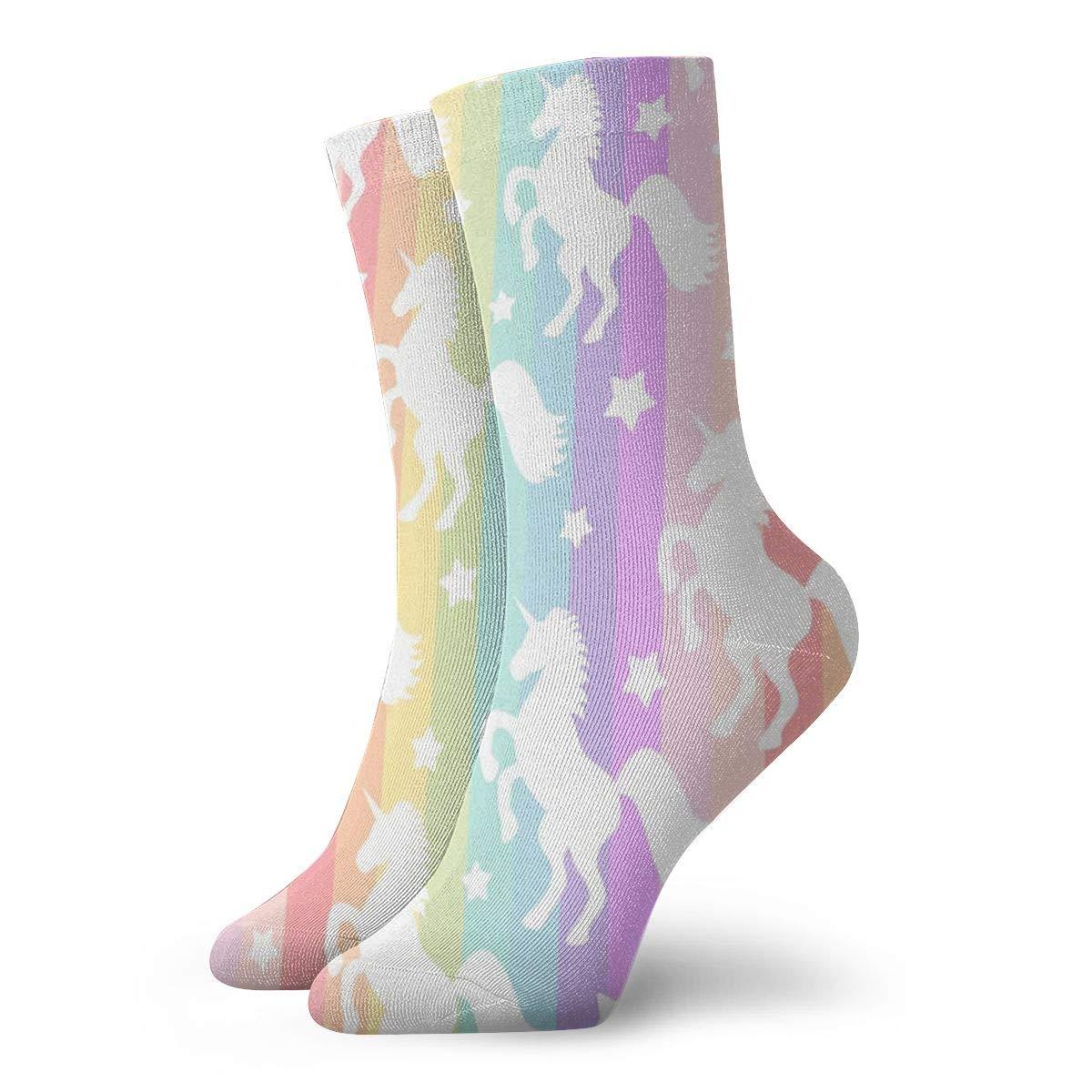 WEEDKEYCAT Unicorn Horse of Rainbow Striped Adult Short Socks Cotton Gym Socks for Mens Womens Yoga Hiking Cycling Running Soccer Sports