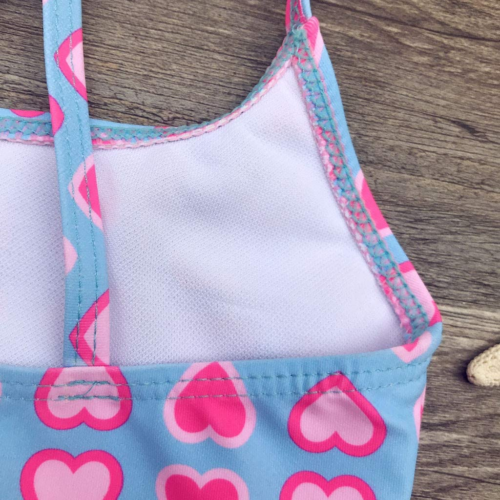 Age:5-6Years, Light Blue EnjoCho Baby Girls Sun Protective Swimwear Infant Toddler Ruffles Love Print Romper 2-8T