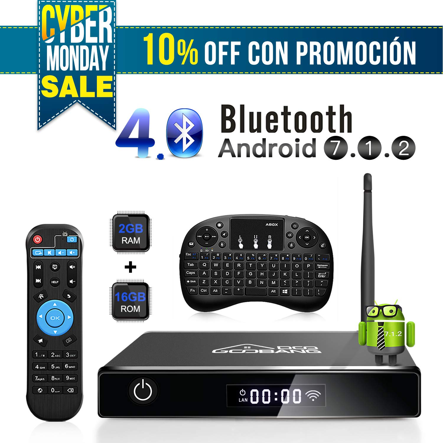 Android TV Box, GooBang Doo XB-III Smart TV Box Android 7.1 Quad Core 2GB RAM/16GB ROM Admite 4K 3D 2.4GHz WiFi Bluetooth con Mini Teclado Inalá mbrico ABOX