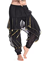 MUNAFIE Belly Dance Harem Pants Tribal Arabic Halloween Pants with Gold Trim US0-14