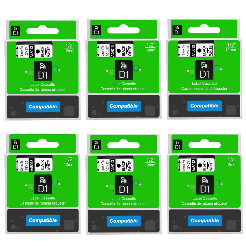6-Pack 45013 S0720530 D1 Label Tape Compatible DYMO LabelManager 280 160 210D 260P 360D 420P 450D Label Maker Black on White 1/2 inch(12mm) x 23 Feet(7m)