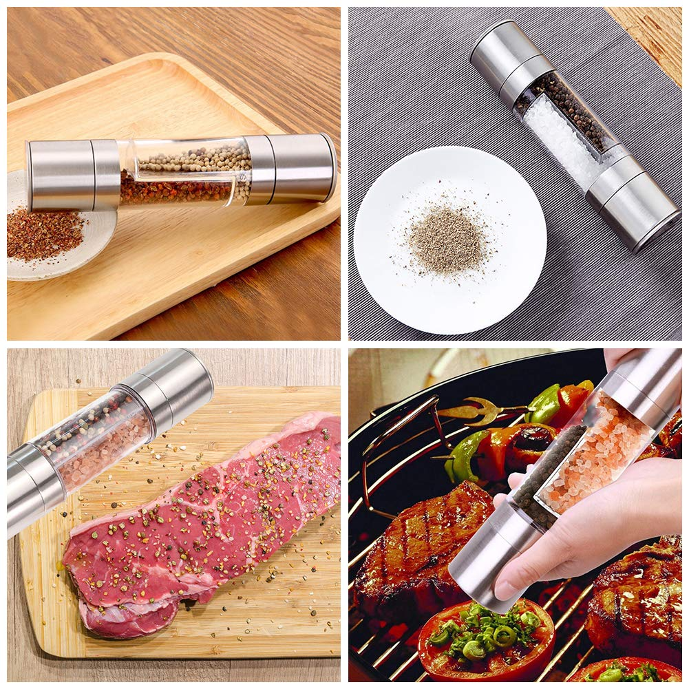 Salt and Pepper Grinder Set Premium Pair of Salt and Pepper Mills with Ceramic Grinder Adjustable Coarseness Brushed Stainless Steel Glass Body Shakers