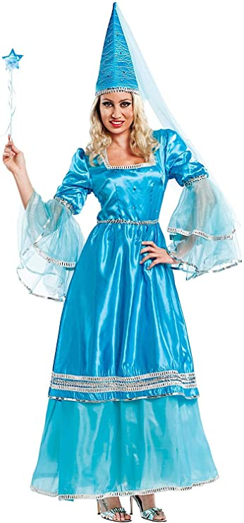 5e235198cc53 Costume di Carnevale da Fata Azzurra Vestito per Donna Adulti Travestimento  Veneziano Halloween Cosplay Festa Party 4455 Taglia M  Amazon.it  Giochi e  ...