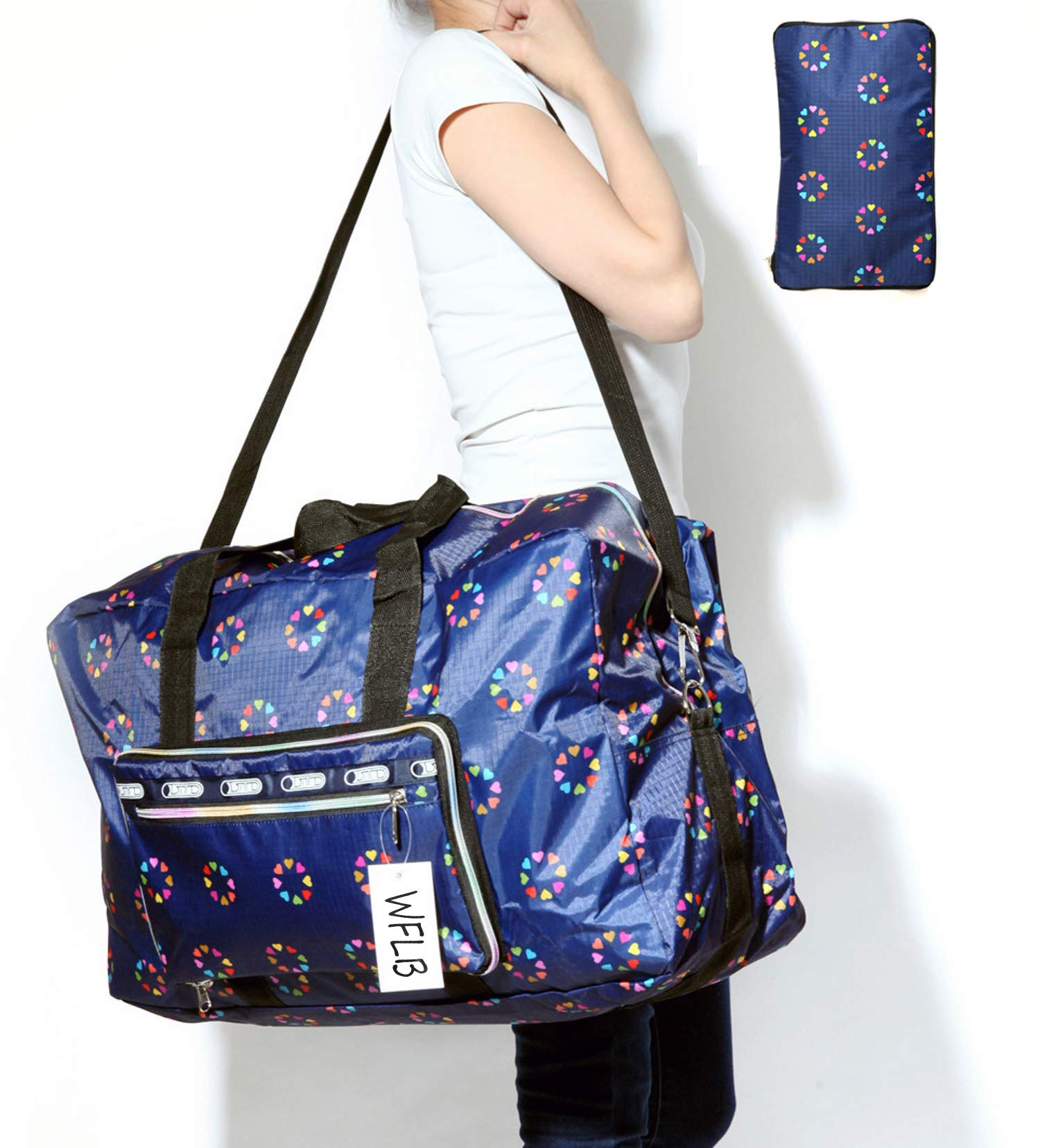 Travel Duffel Bag Foldable Large Travel Bag Weekend Bag Checked Bag Luggage Tote 18 Style 21.6IN x 9.8IN x 13.7IN (blue heart)