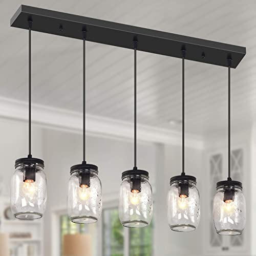 Farmhouse Chandelier 5 Lights Glass Mason Jar Pendant Lighting Dining Room Light Fixture Adjustable Linear Hanging Lamp