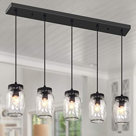 YIINO 5 Lights Industrial Pendant Light,Vintage Kitchen Island Mason Jar Hanging Lighting Fixtures,Adjustable Farmhouse Chandeliers for Kitchen Island Living Room Dining Room
