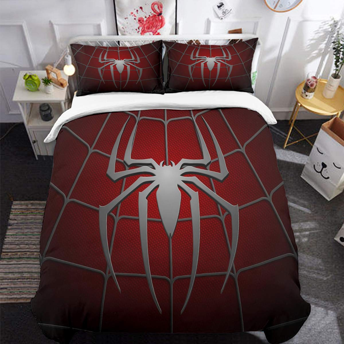 3D Printed Spider Queen Bedding Set for Children Teens Spider Web Pattern Duvet Cover Set with 2 Pillowcases Dark Red Comforter Cover with Zipper Closure 90'' x 90''(Not Comforter) by Guidear