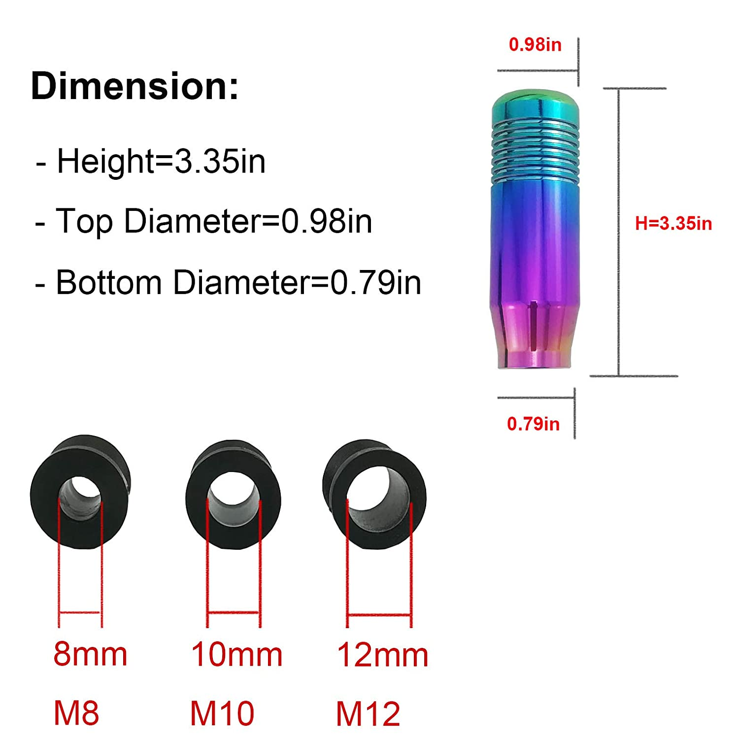 ACN309-BL309 Colorful Arenbel New Universal Manual and Automatic Car Gear Stick Shifter Knob Short Shift Lever Fit Most Cars