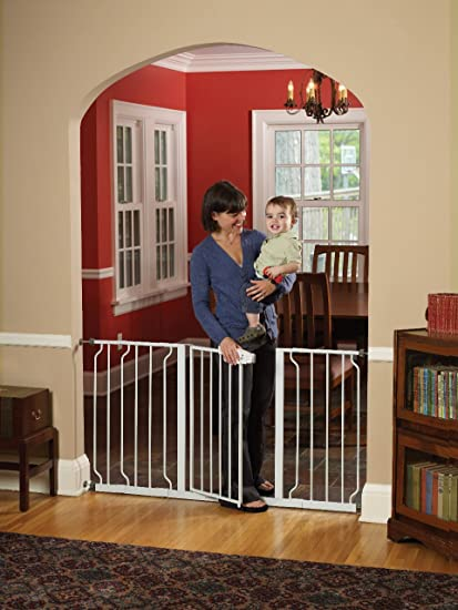 Bonus Kit Include.. Regalo Easy Step 38.5-inch Extra Wide Walk Thru Baby Gate Choice Materials