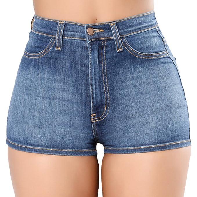 04d4092637 Skinny Shorts para Mujeres Cintura Alta Slim Fit Corto Pantalones De  Mezclilla  Amazon.es  Ropa y accesorios