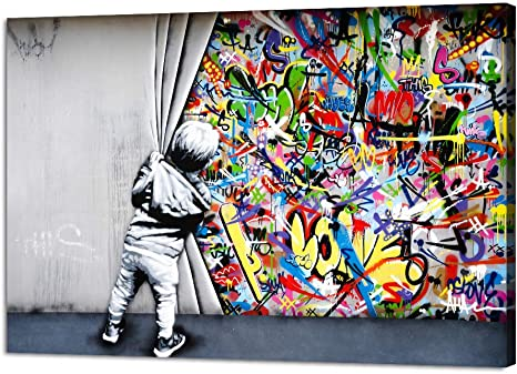 Amazon Com Yatsen Bridge Classic Street Art Banksy Graffiti Wall Art Behind The Curtain Posters Canvas Paintings Colorful Graffiti Pictures Prints Stretched And Framed For Living Room Home Decor 36 W X 24 H Posters