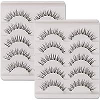 KFZR 10 Pairs False Lashes Eyelashes Natural Look Handmade Crisscross 3D Reusable Black