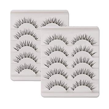 6a3d4cf7238 KFZR 10 Pairs False Lashes Eyelashes Natural Look Handmade Crisscross 3D  Reusable Black: Amazon.co.uk: Beauty
