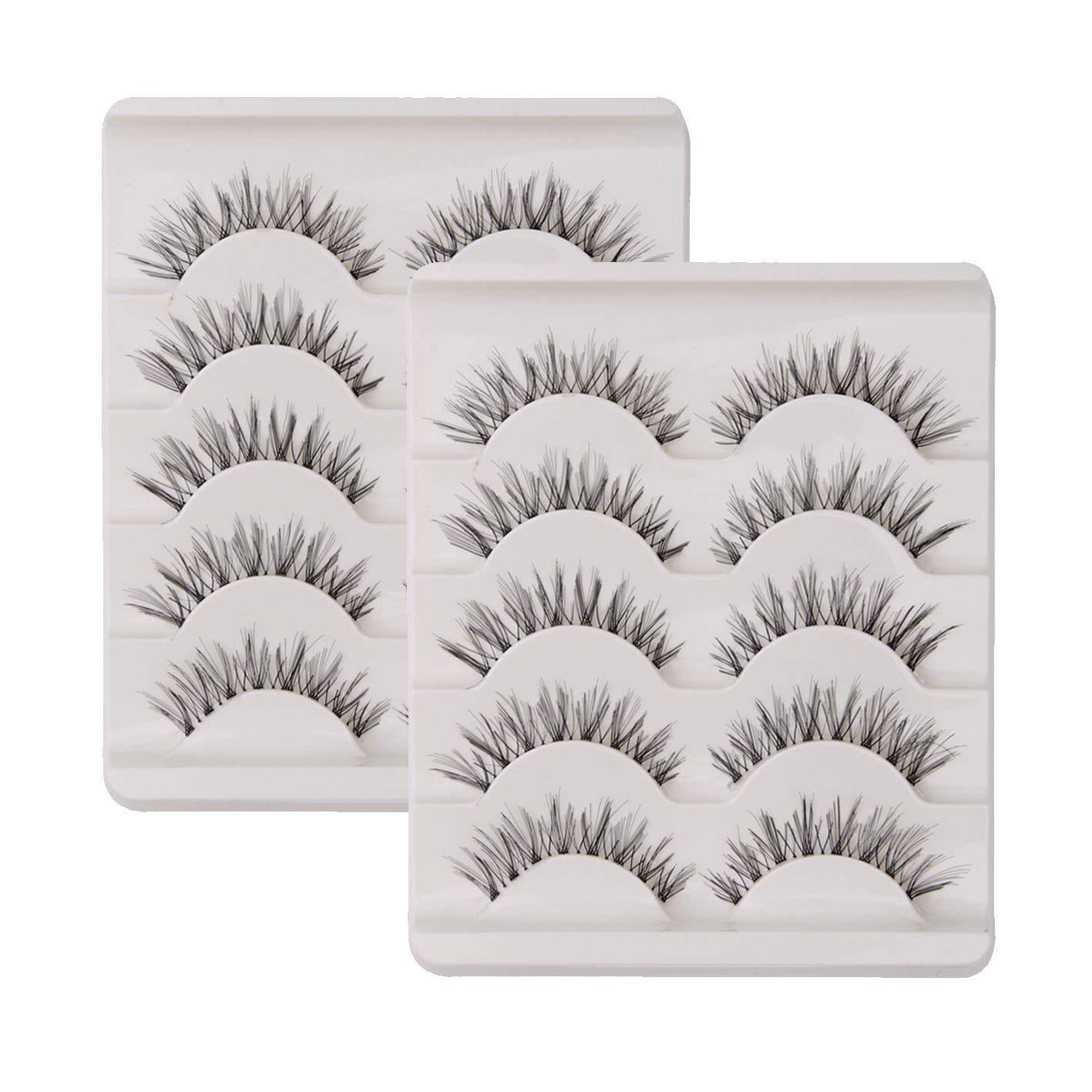 0e1c8e370cc KFZR 10 Pairs False Lashes Eyelashes Natural Look Handmade Crisscross 3D  Reusable Black product image