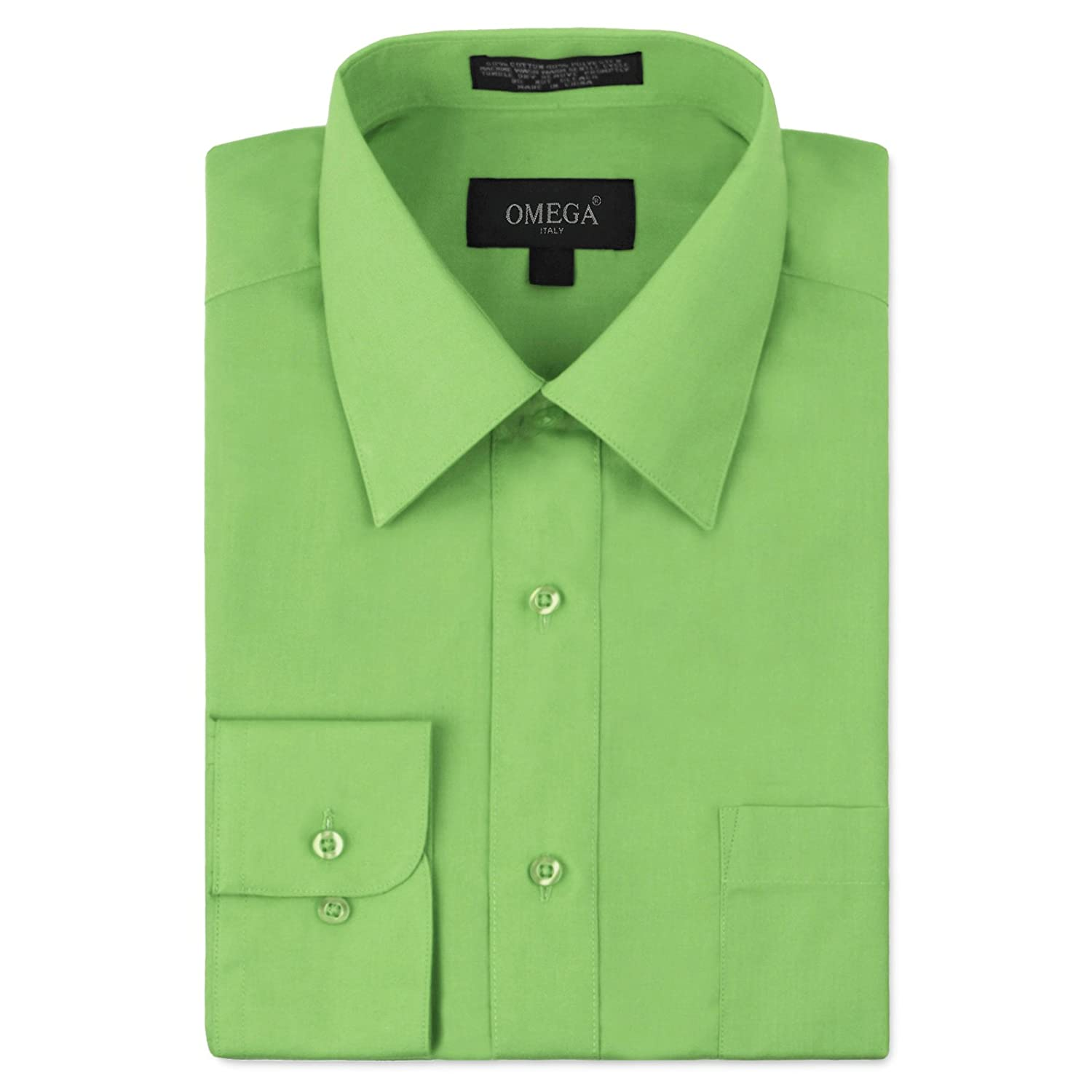 202fb745630 Omega Italy Men s Long Sleeve Dress Shirt Solid Color Regular Fit 25 Colors  at Amazon Men s Clothing store