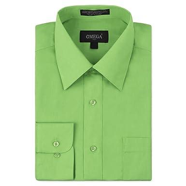 8d50a98772a Omega Italy Men s Long Sleeve Dress Shirt Solid Color Regular Fit 25 Colors