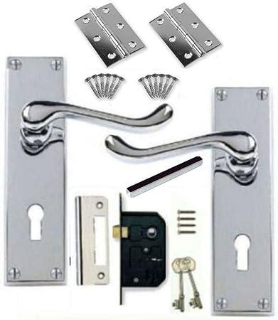 Victorian Scroll Polished Chrome Door Handle Lock Pack +2 Lever Lock +Hinges (KA) by Discount Hardware UK: Amazon.es: Bricolaje y herramientas
