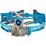 Bracelet Chouette Infini Cœur Perle Karma Infinity Hibou Bleu