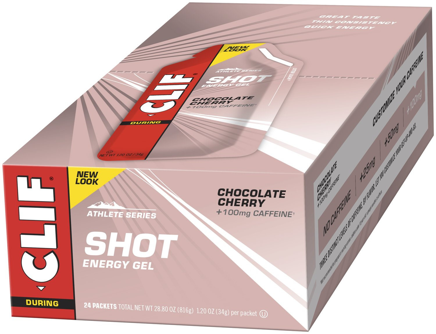 CLIF SHOT - Energy Gel - Chocolate Cherry - With Caffeine 1.2 Ounce Packet, 24 Count