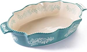 "Oven to Table Oval Casserole Dish - 100% Stoneware Ceramic Baking Dishes for Cooking & Serving, Lasagna Pan Bakeware is Dishwasher & Microwave Safe - 13.5"" x 9.75"" Cookware Pans"