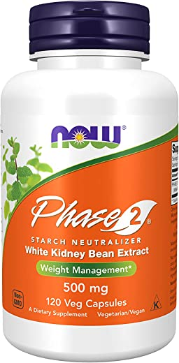 NOW Supplements, Phase 2® (White Kidney Bean Extract) 500 mg, Weight Management*, 120 Veg Capsules