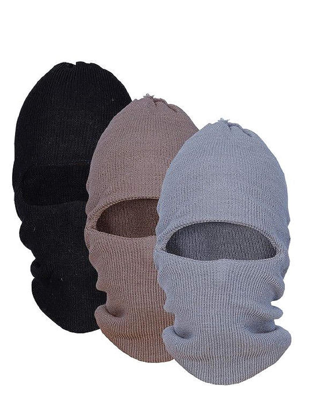 fb29fc8d649 Zacharias Men s Woolen Monkey Cap Pack of 3 Black Brown Grey  Amazon.in   Clothing   Accessories